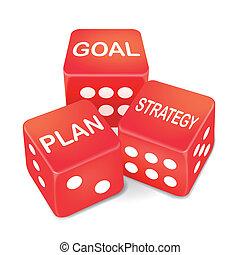 plan, but, dés, stratégie, mots, trois, rouges