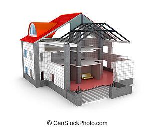 plan, casa, aislado, arquitectura