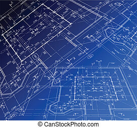 plan., casa, vetorial, blueprint