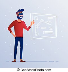 plan, casque à écouteurs, projection, technologique, vr, robotique, interface, hud, bras, homme