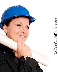 plan, casque, femme, ingénieur