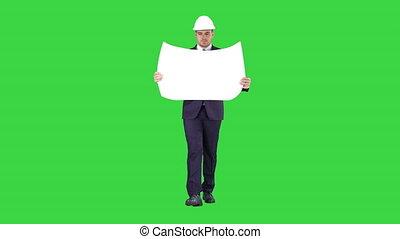 plan, casque, marche, porter, chroma, écran, vert, key., tenue, professionnel, architecte, homme