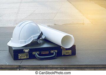 plan, casque, sécurité, architectural