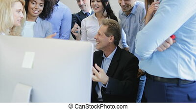 plan, collega's, zakenlui, succesvolle , baas, hoog, het...