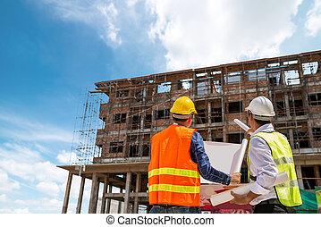 plan, concept, bâtiment, regarder, ingénierie, ingénieur
