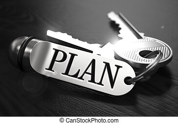 Plan Concept. Keys with Keyring.