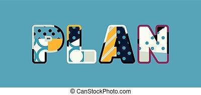 plan, concepto, palabra, arte, ilustración