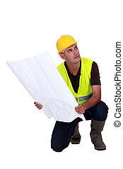 plan, construction, surveillant, tenue