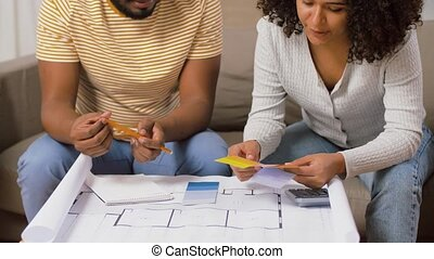 plan, couleur maison, couple, palettes