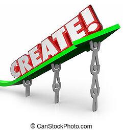 plan, créer, original, innovation, équipe, idée, flèche, nouveau, mot