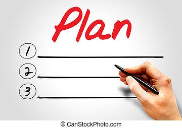 plan, czysty, spis