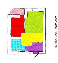 plan, de, apartamento, mano, dibujado, bosquejo, vector, ilustración