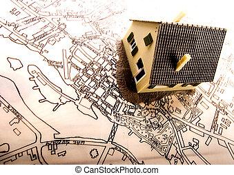 plan de arquitectura, y, hogar