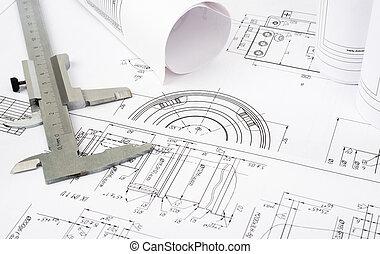 plan de arquitectura, y, rollos, de, planos