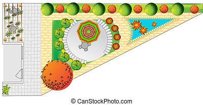 plan, de, jardín