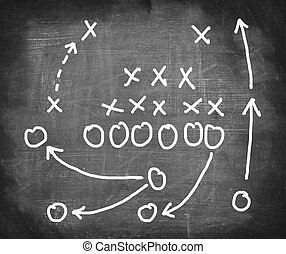 plan, de, un, partido del fútbol americano, en, un, blackboard.