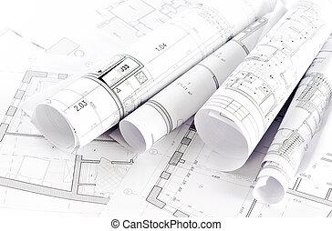 plan, deel, architecturaal