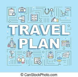 plan del recorrido, bandera, conceptos, palabra