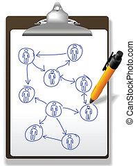 plan, diagram, mensen zaak, netwerk, pen, klembord