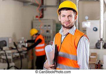 plan, directeur, fabriekshal, gebied