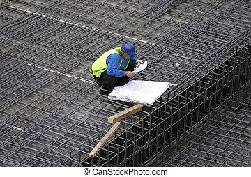 plan, directeur, lezende , plannen, bouwterrein