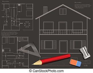 plan, dom, tło