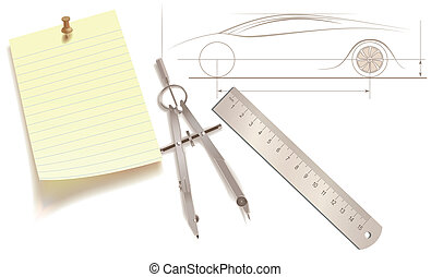 Plan drawing tools - Ruler, pair of compasses and a sticker...