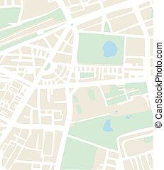 plan, eller, abstrakt, vektor, stad kartlagt