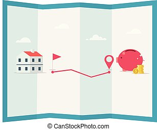 plan, epargner argent, porcin, goal., illustration., épingle, pièces, vecteur, banque, maison