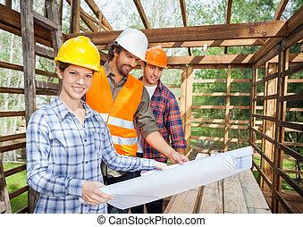 plan, examiner, collègues, site, confiant, architecte