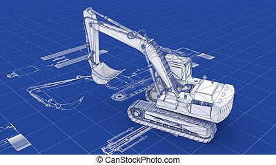 plan, excavateur