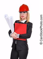 plan, femme, ingénieur