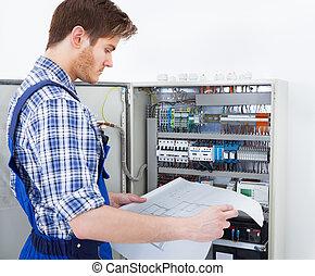 plan, fusebox, technicien, analyser, devant