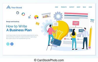 plan, gens, comment, idée commerciale, ampoule, écrire