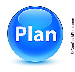 Plan glassy cyan blue round button