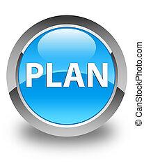 Plan glossy cyan blue round button