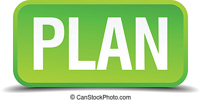 Plan green 3d realistic square isolated button