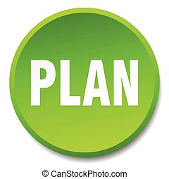plan green round flat isolated push button