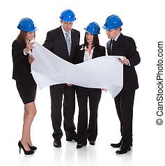plan, groupe, discuter, architectes