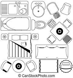 plan, /, gulv, furniture, enkel