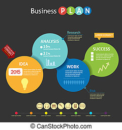 plan, handlowy, infographic