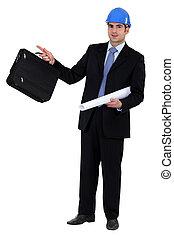 plan, homme affaires, construction, serviette, tenue