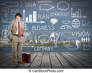 plan., homme affaires, standingnear, innovation