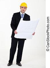 plan, homme affaires, tenue