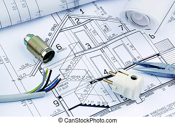 plan, house., elektryczny