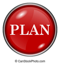 Plan icon - Red shiny glossy icon on white background