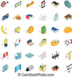 Plan icons set, isometric style