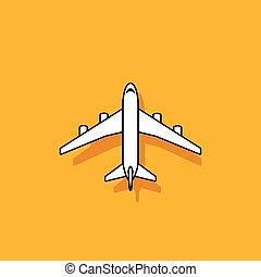 plan, ikon, flygning, på, orange fond