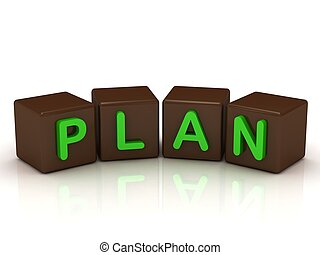 PLAN inscription bright green letters