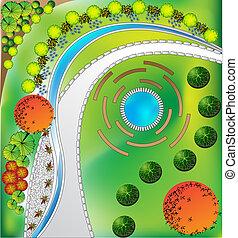 plan, jardín